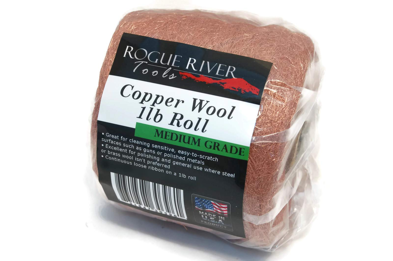 Copper Wool 1lb Roll (Medium Grade) - Made in USA! by Rogue River Tools