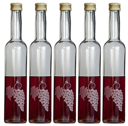 5 botellas de vidrio vacías de hasta 350 ml de uva