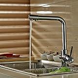 [メーカー保証5年付] Auralum 内蔵形浄水器 混合水栓 シングルレバー 取り付けホース付き 水栓装置