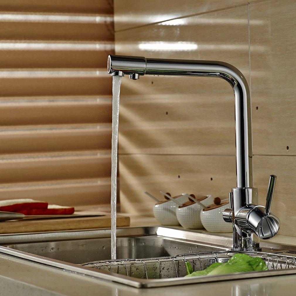 Grifo de Cocina 3 Vias Osmosis Mezclador de Cocina Separate para Agua Filtrada//Agua Fr/ía//Agua Caliente Grifo para Fregadero en Lat/ón y Cromado Auralum