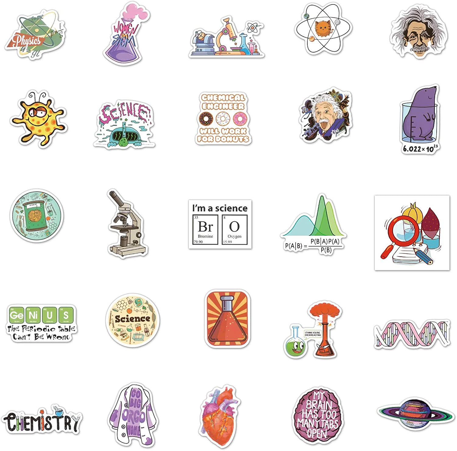 Science Experienment Stickers 100PCS Funny Chemistry Physics Biology Laboratory Students and Kids Decals for Book Bumper Cars Bag Luggage Skateboard Water Bottle Bicycle Pencil Case Lab Vinyl Gifts