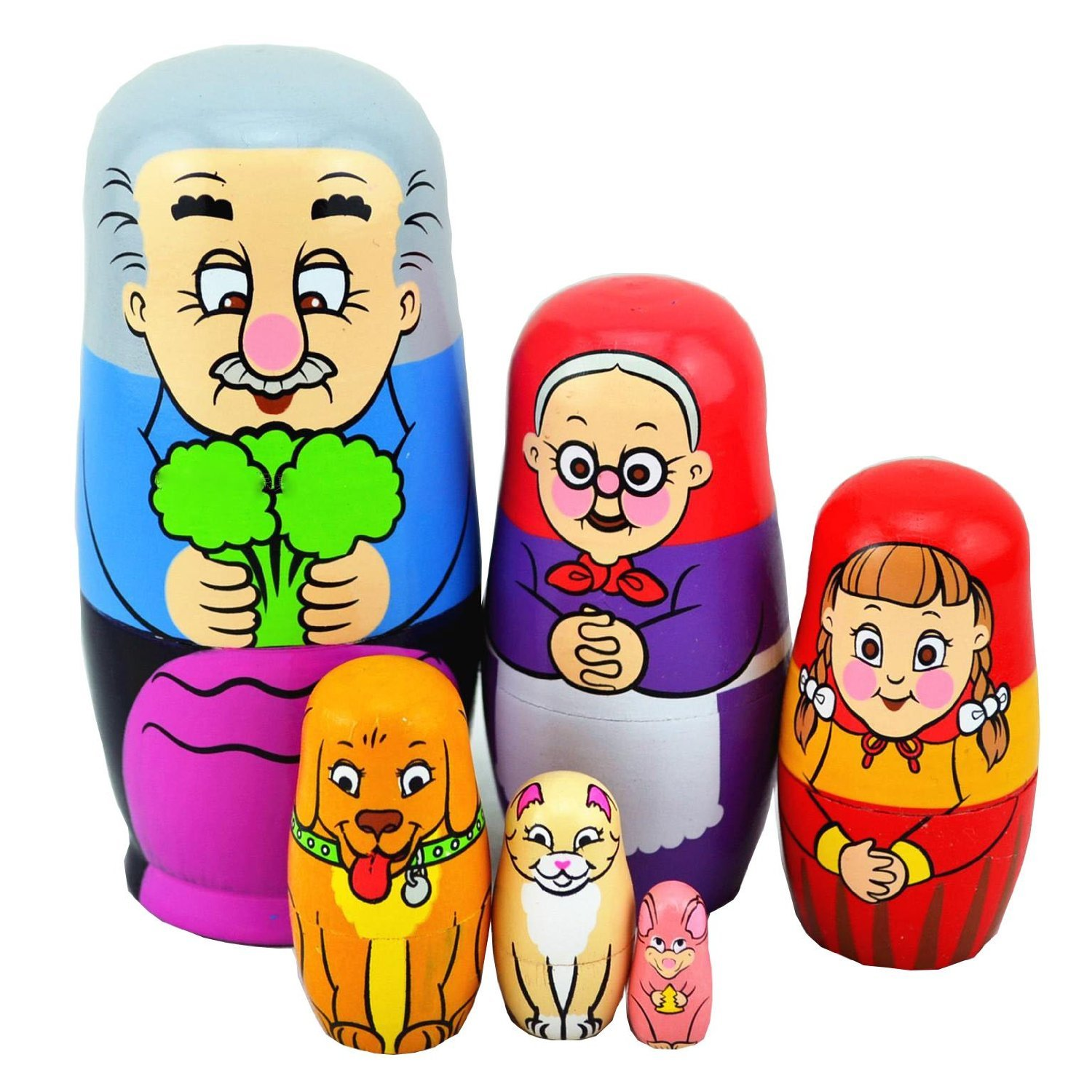 EVINIS Cute Lovely Grandpa and Carrot Family Nesting Dolls Matryoshk a Madness Russian Doll Popular Handmade Kids Girl Gifts Toy( Set of 6)