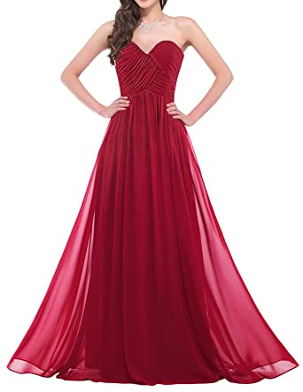Womens Girls Bridesmaids Sweetheart Neckline Chiffon Wedding Dresses Strapless Evening Party Prom Maxi Cocktail Gowns Floor