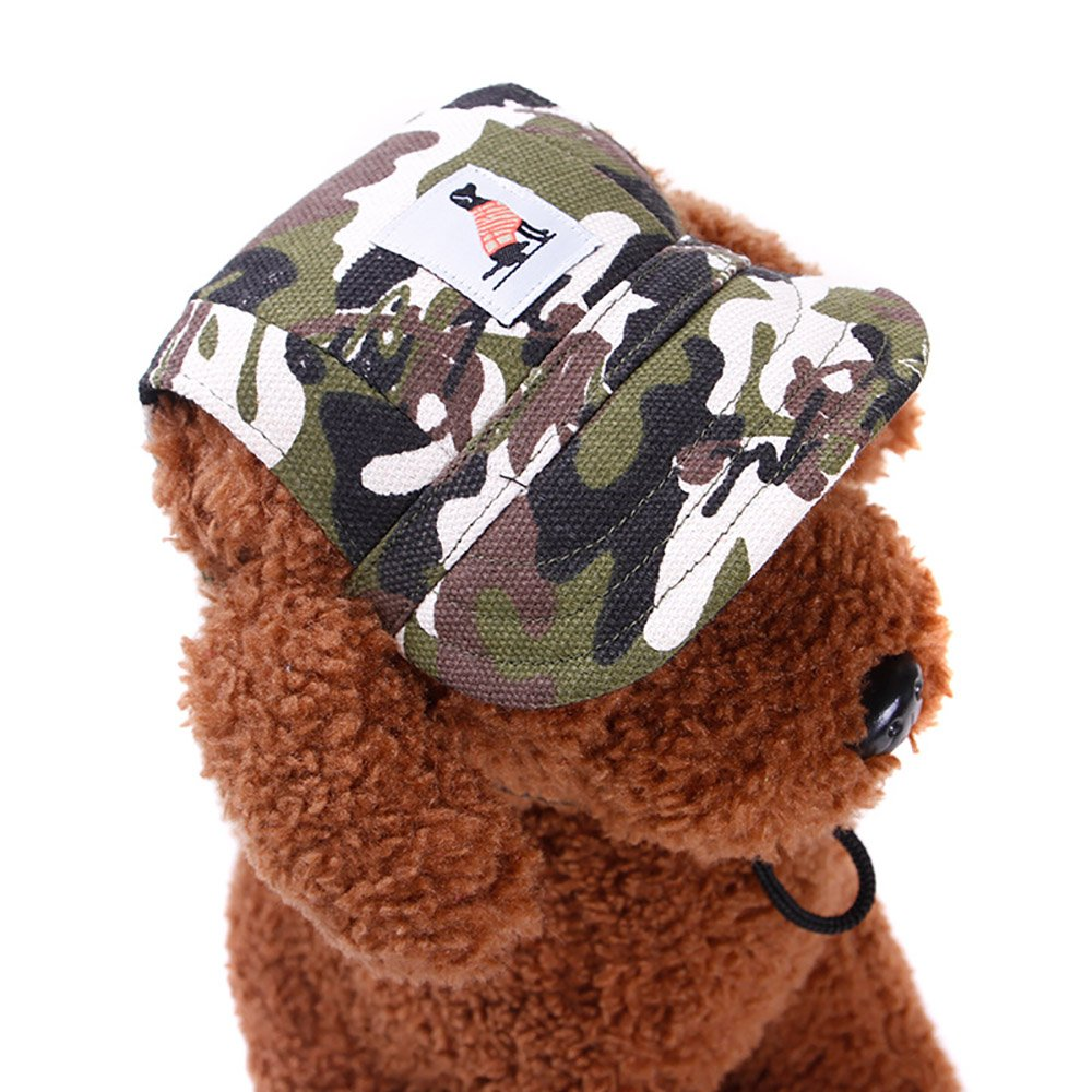 GFFG Fashion Pet Cap Dog Sport Hat Pet Baseball Cap Sun Hat Canvas Visor Cap with Ear Holes and Adjustable, for Small Dogs,Camouflage,M by GFFG