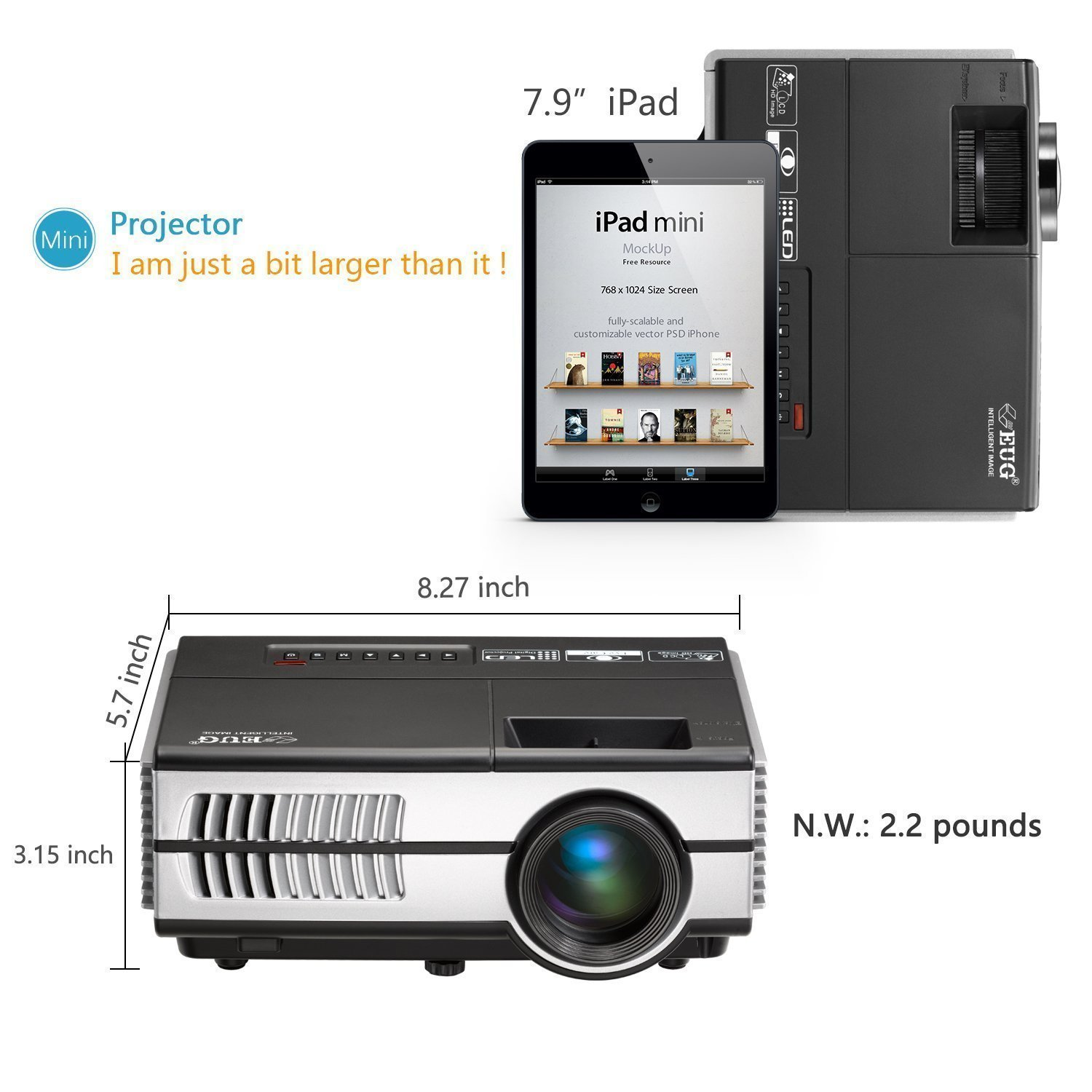 Wireless Mini Projector LED LCD- 1500 Lumens 1080P Multimedia for Home Theater Cinema Movie Video Games Outdoor Party including Built-in Speaker, Keystone, HDMI, USB, VGA, 3.5mm Audio jack, Remote by EUG (Image #6)