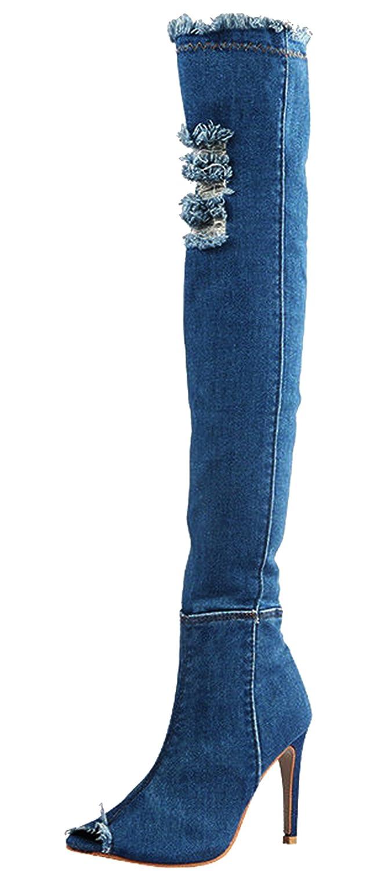 Piccoli monelli ♚ Stivali Donna Estivi con Tacco a Spillo Alto Alla Coscia Elasticizzati a Calza Spuntato con Strappi in Jeans Blu Chiaro TG 40
