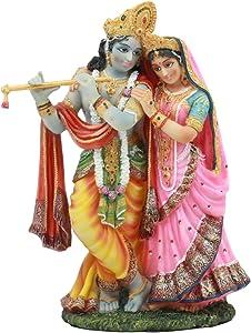 Ebros Vedic Radha and Krishna Statue 8Tall Avatar of Vishnu and Shakti Gods Divine Love in Male and Female Aspects