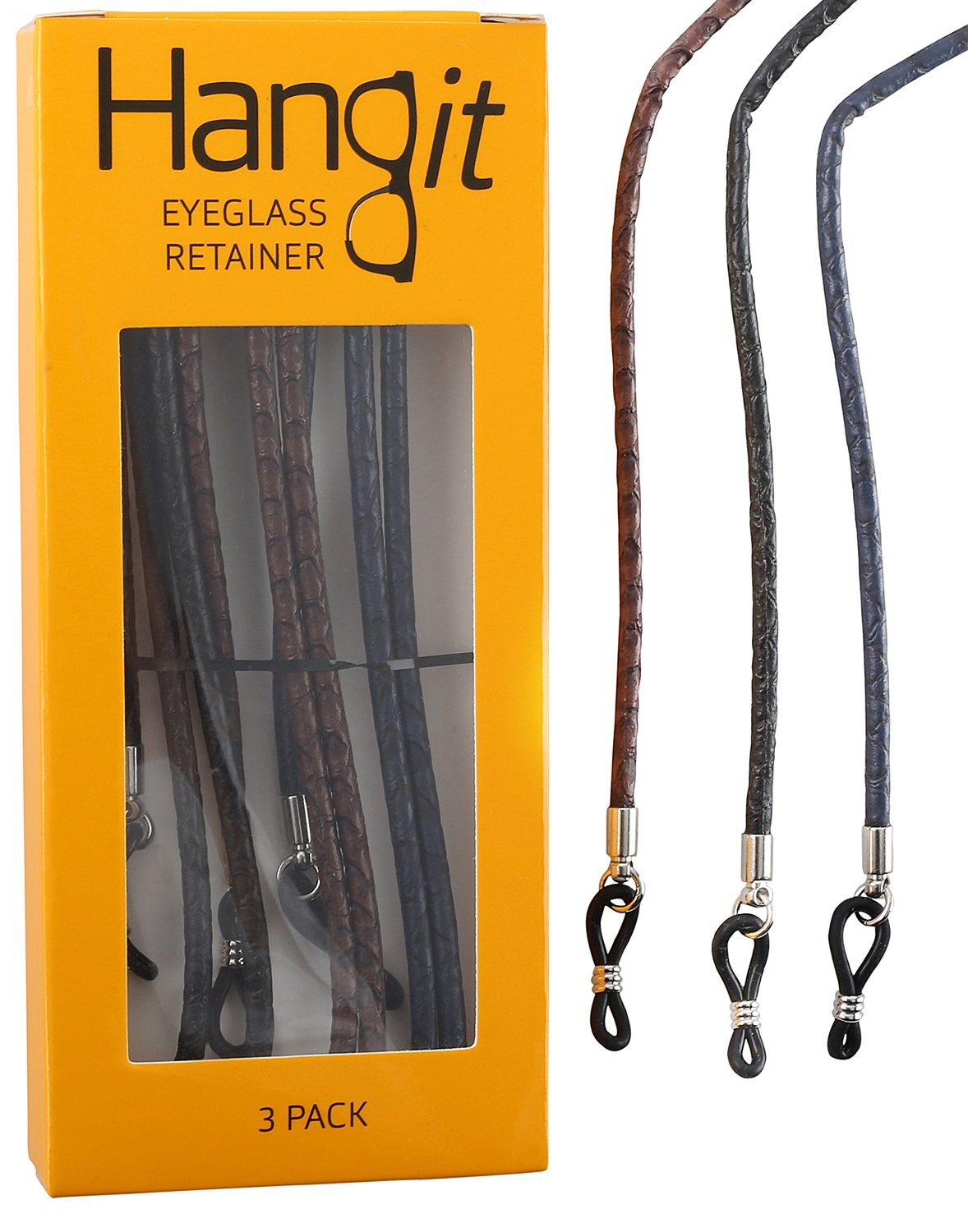 Elegant Eyeglass Strap-Chain-Retainer with Universal Connector (3 Pack PU Leather Strap by HANGIT by Avitron