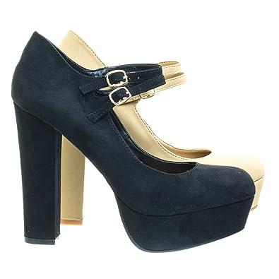 22e0b23797 BAMBOO Stage04 Black Mary-Jane Dress Pump w Chunky Block Heel, Platform &  Double