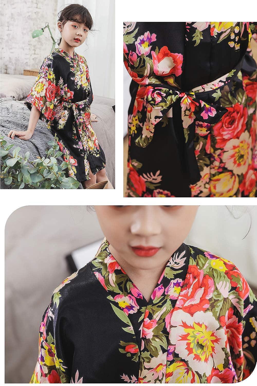 YAOMEI Bambini Ragazza Ragazzo Kimono Vestaglia Pigiama Raso di Seta del Peonia e Fiori Robe Accappatoio per Matrimoni Nuziali