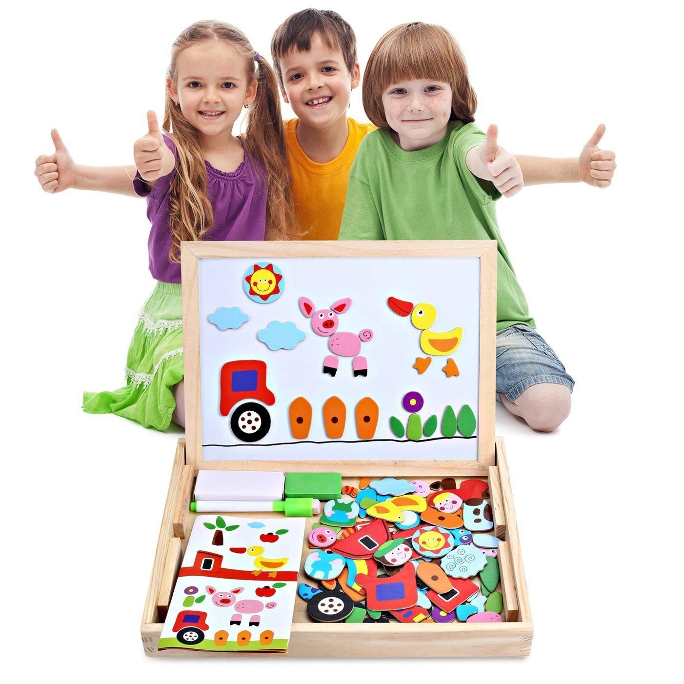 Digital Letters Wooden Whiteboard Number Magnetic Drawing Board 3-6 Years Old Children Puzzle Early Education Learn Toys Home