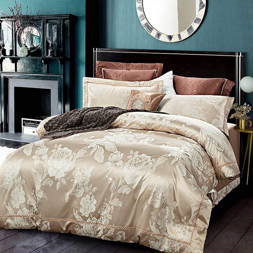羽毛布団カバーセット4点ジャカードサテンの高級寝具セット シルク コットン 繊細な花柄の寝具セット 布団カバー1枚フラットシート2枚枕カバー ラクダ B07RWWGL9Q