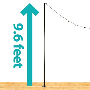 IYN Stands Outdoor String Light Pole Stand, 9.6 Feet Tall, Durable Powder Coated Steel, Weather Resistant - Black