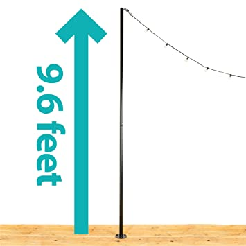 IYN Stands Outdoor String Light Pole Stand, 9 6 Feet Tall, Durable Powder  Coated Steel, Weather Resistant - Black