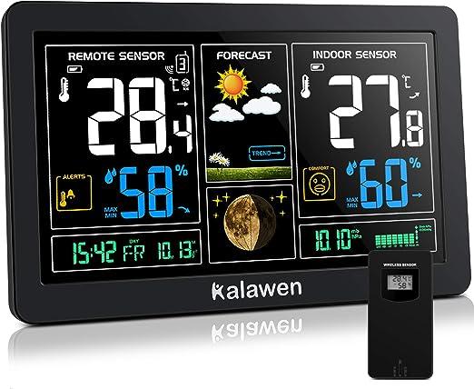 Kalawen Estación Meteorológica Inalámbrica con Sensor Exterior Interior 9-IN-1 DCF Estación Meteorológica para Temperatura Humedad Barómetro Alarma Fase Lunar y Carga USB: Amazon.es: Jardín