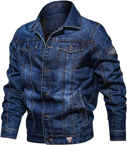 デニムジャケット 大きいサイズ メンズ マルチポケット ラペル コート ユーズド加工 防寒 長袖 折り襟 Gジャン アウター カバーオール ブルゾン 綿 L-6XL カジュアル ブルー ボタン式 防風