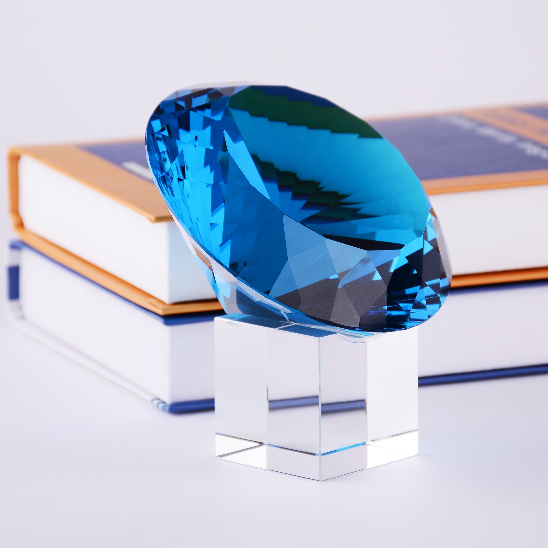 BRLIGHTING Cobalt Blue crystal Diamond Paperweight on stand for Office, Lovely Gift for Friends and Family (D120mm / 4.73'')