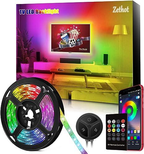 Tira LED TV de 11.5 pies(3.5M), sincronización de control Bluetooth TV de 40-65 pulgadas con música, Kit de luces LED de TV con mando a distancia, alimentación por USB.: Amazon.es: Iluminación