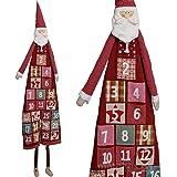 matches21 Adventskalender Befüllen XXL 180 cm wunderschöner Weihnachtsmann Nikolaus Plüsch Textil große Stofftaschen