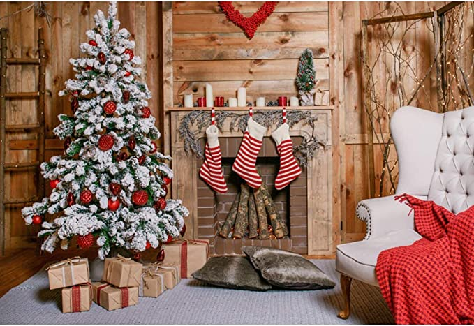 CSFOTO 12x8ft Christmas Backdrop Xmas Tree Fireplace Gifts Living Room Interior Decor Home Chirstmas Party Background for Photography New Year Party Supplies Kids Newborn Photo Booth