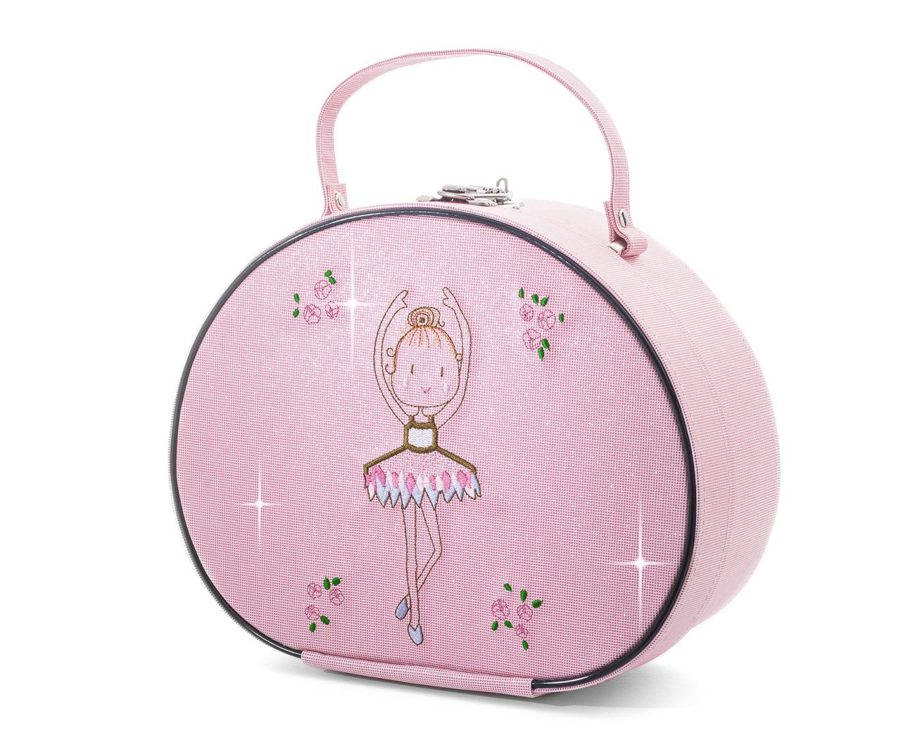 Katz Dancewear Pink Sparkly Shimmer Ballerina Dance Ballet Hand Vanity Hard Case Bag By KB102 Christmas Birthday