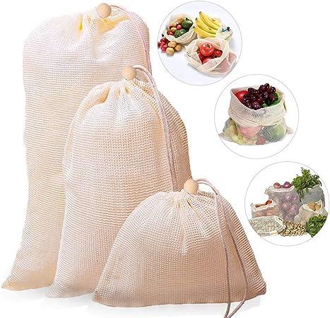 3 Pack - Bolsas Compra Reutilizables, Ecológicas Bolsa de Malla ...