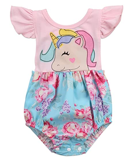6067777866d9 Amazon.com  stylesilove Newborn Baby Girl Backless Unicorn Floral Printed  Ruffle Sleeve Sunsuit Romper Outfit  Clothing