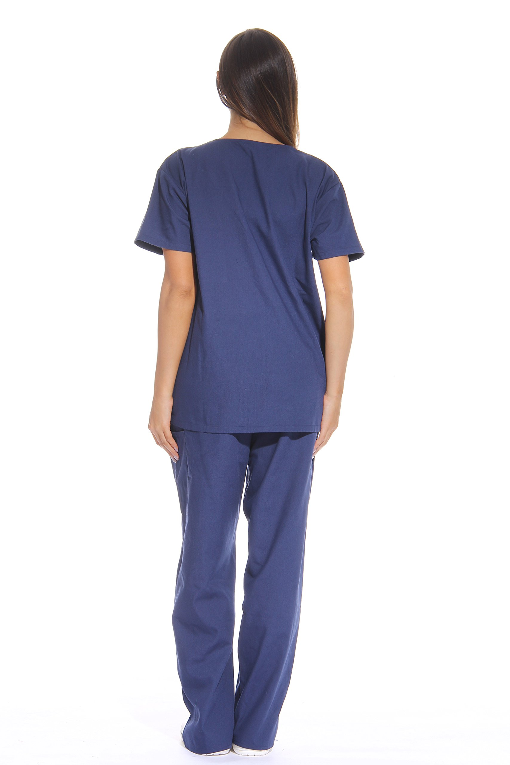 Just Love Women's Scrub Sets Six Pocket Medical Scrubs (V-Neck With Cargo Pant), Navy, X-Small by Just Love (Image #3)