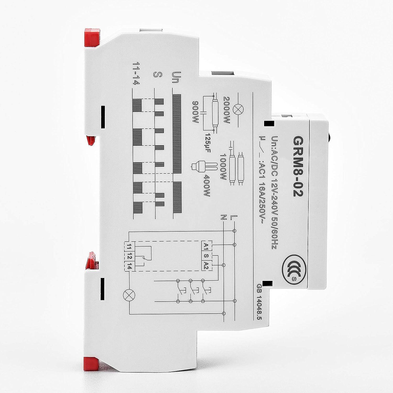 Gaeyaele Grm8 Electronic Latching Relay Memory Impulse Dpdt 12vdc Spdt 16a Wide Range Voltage Din Rail