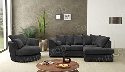 Terrific Dylan Corner Sofa Swivel Chair In Full Jumbo Cord Grey Coffee Black Black Right Hand Pabps2019 Chair Design Images Pabps2019Com