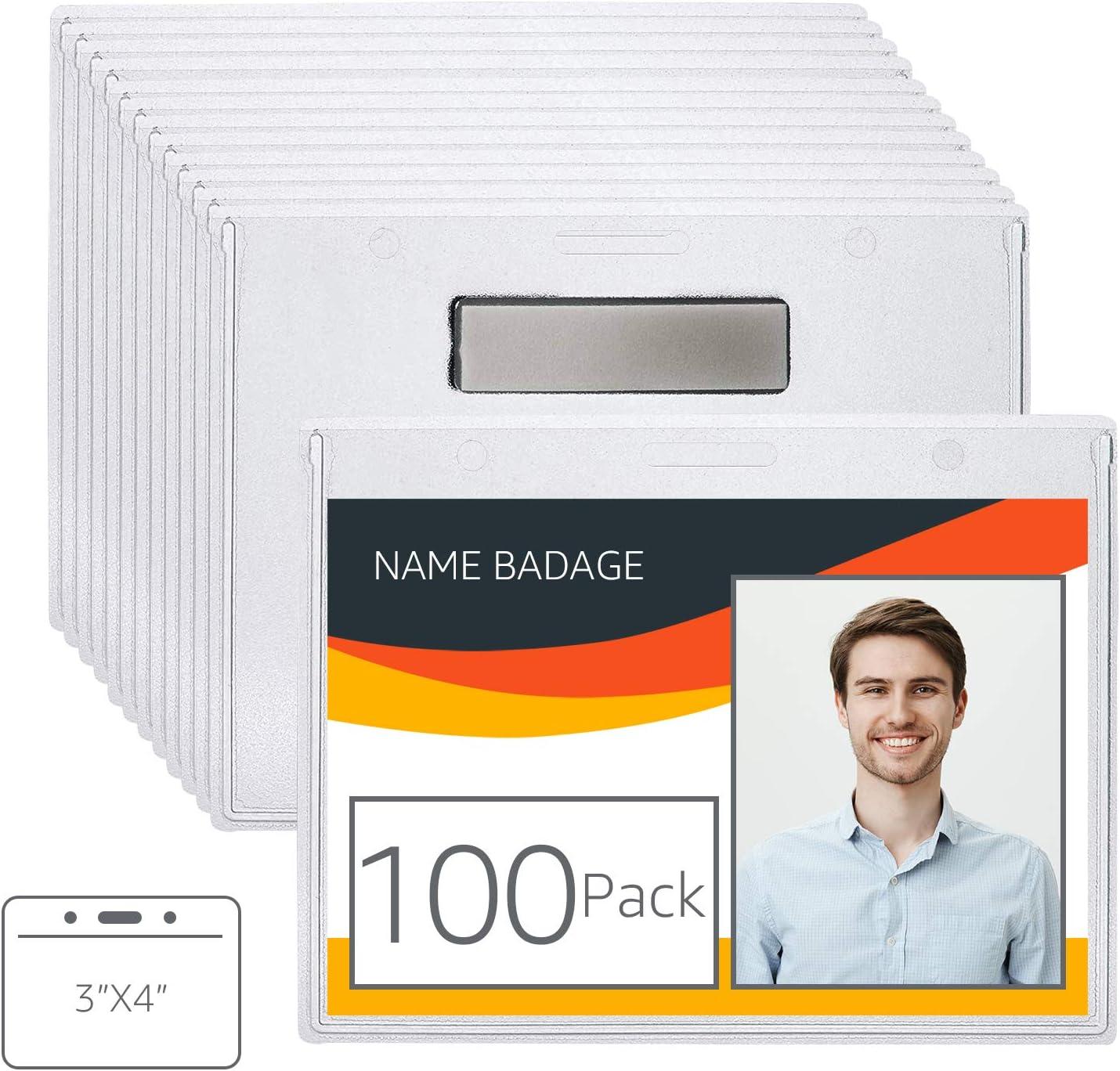 AmazonBasics Horizontal Magnetic Badge Holder - Pack of 100, Clear