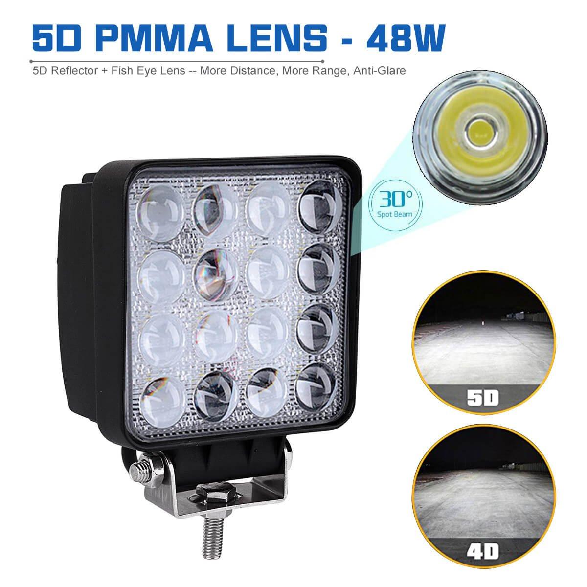 LEMIL 48W 5D Lens LED Work Light 12V Spot Light Driving Fog Light Off Road Spot Beam Lamp Boat Light with Magnetic Base Waterproof Emergency Light for Truck SUV 12V 24V Searchlight by LEMIL (Image #2)