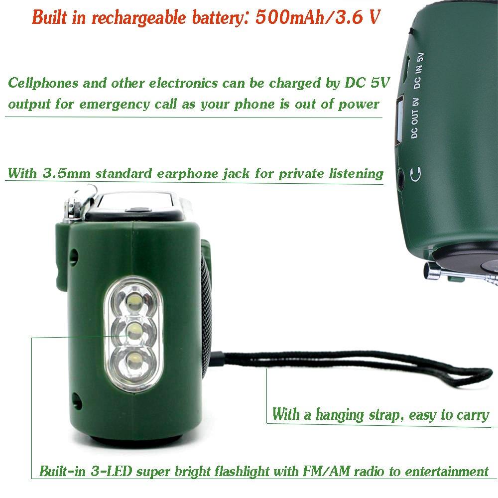 Frostory Solar Dynamo Hand Crank LED Flashlight FM/AM Radio with Emergency Power Bank Survival Kit 332FS (Green) by Frostory (Image #3)