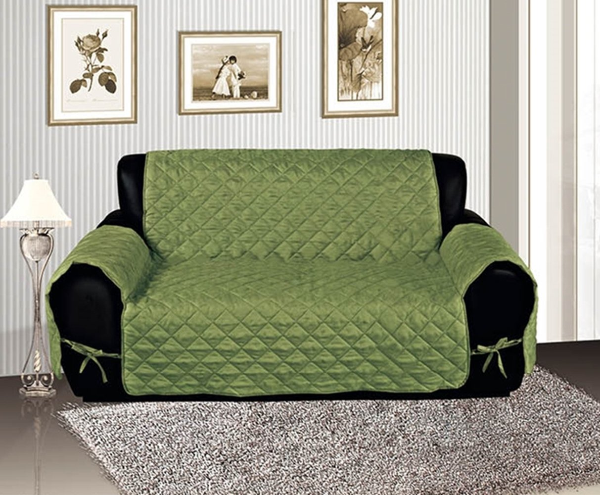 Sage Quilted Micro Suede Pet Dog Couch Sofa Cover Protector Throw