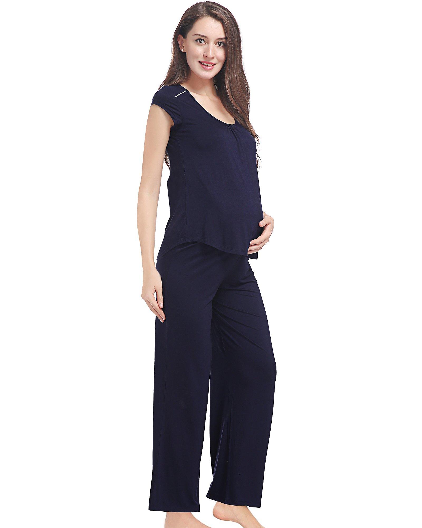 GYS Soft Bamboo Maternity Loungewear Nursing Pajama Pants Set, Navy Blue, M