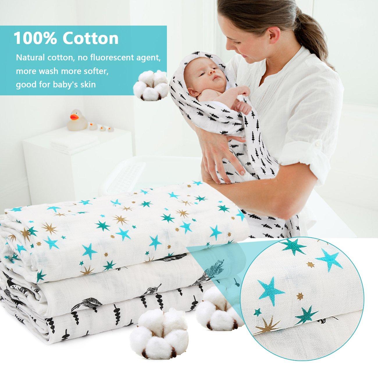 Amazon.com: Bebé muselina swaddle transpirable Multi-Use ...