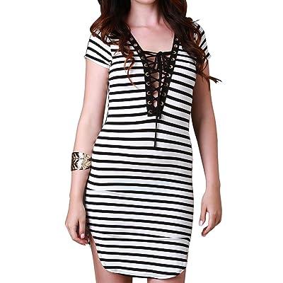 Ya Lida Women's Cross-tie with a deep V striped hip skirt dress