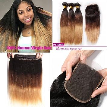 Amazon Com Ombre Brazilian Virgin Hair Straight 3 Bundles With