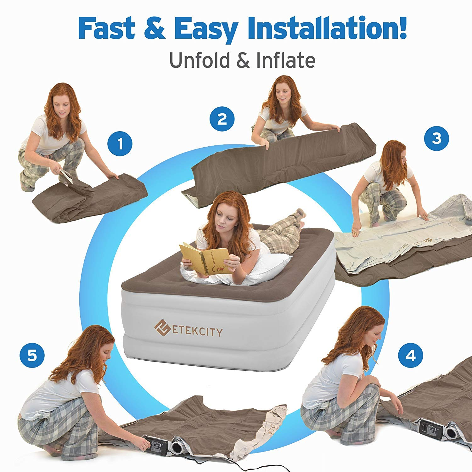 Etekcity Upgraded Twin Queen Size Air Mattress - Blow Up Bed Inflatable Mattress Raised Air Bed with Built-in Pump for Guest, Camping, Height 18'/22', Storage Bag, 2-Year Warranty (Queen) Height 18/22 EAM-DQ1