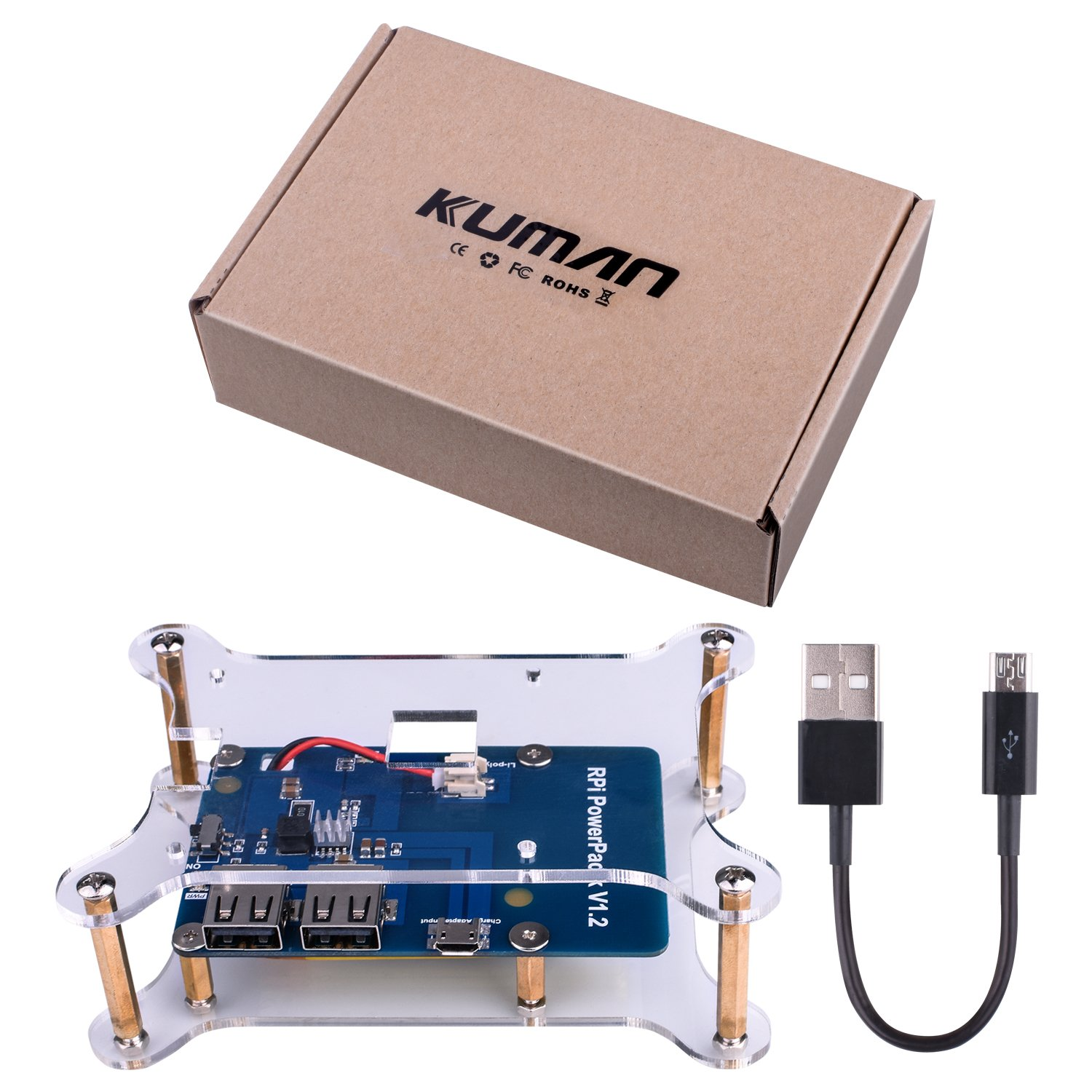 for Raspberry Pi Kuman Lithium Battery Pack Expansion Board RPi Power Pack Power Supply+ USB Cable + 2 layer Acrylic Board for Pi 3 2 Model B KY68C