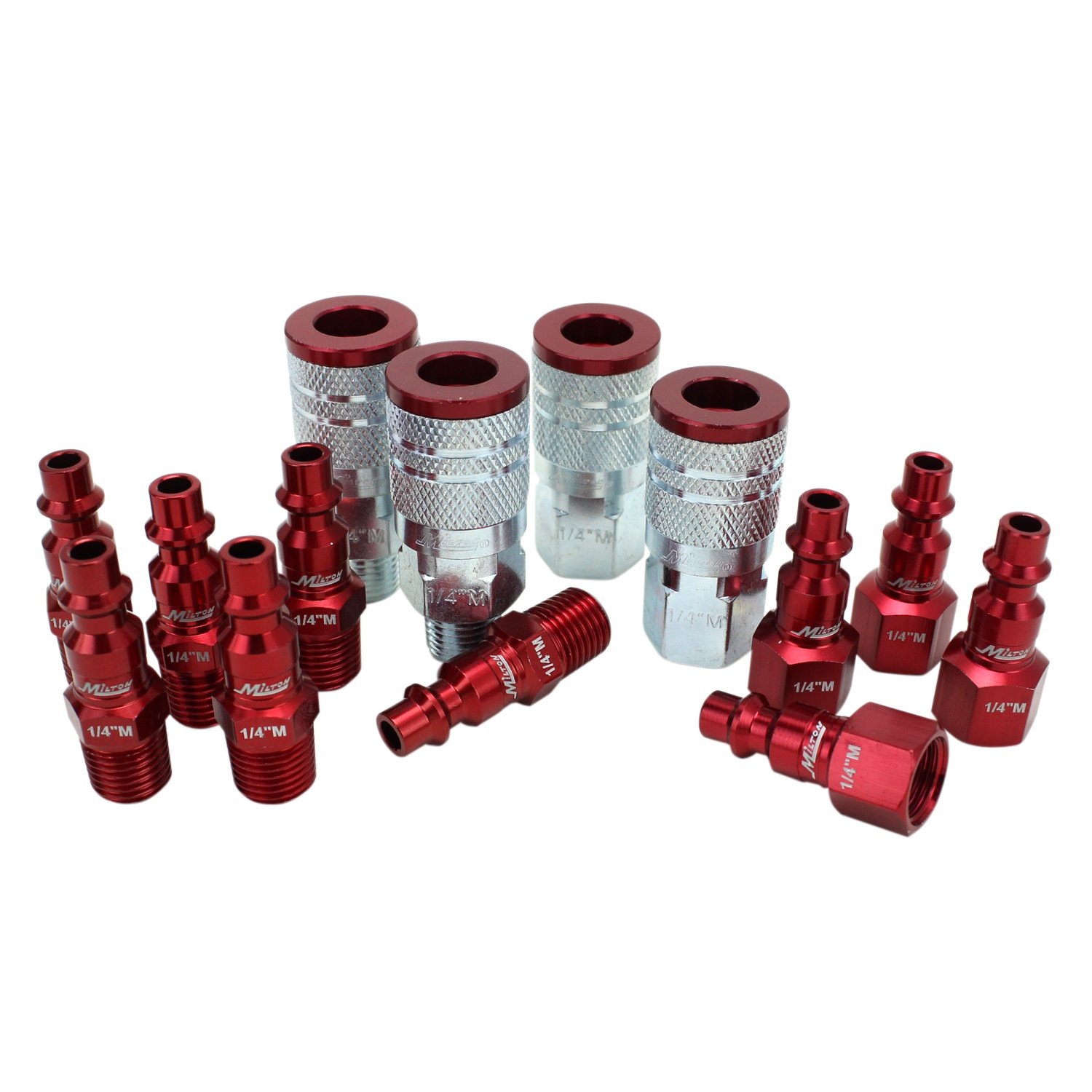 ColorFit by Milton Coupler & Plug Kit - (M-Style, Red) - 1/4'' NPT, (14-Piece)