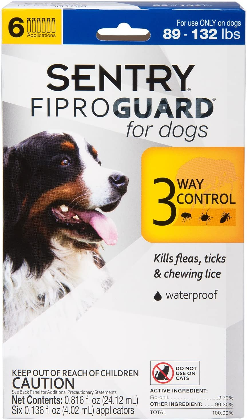 SENTRY Fiproguard for Dogs, Flea and Tick Prevention for Dogs (89-132 Pounds), Includes 6 Month Supply of Topical Flea Treatments