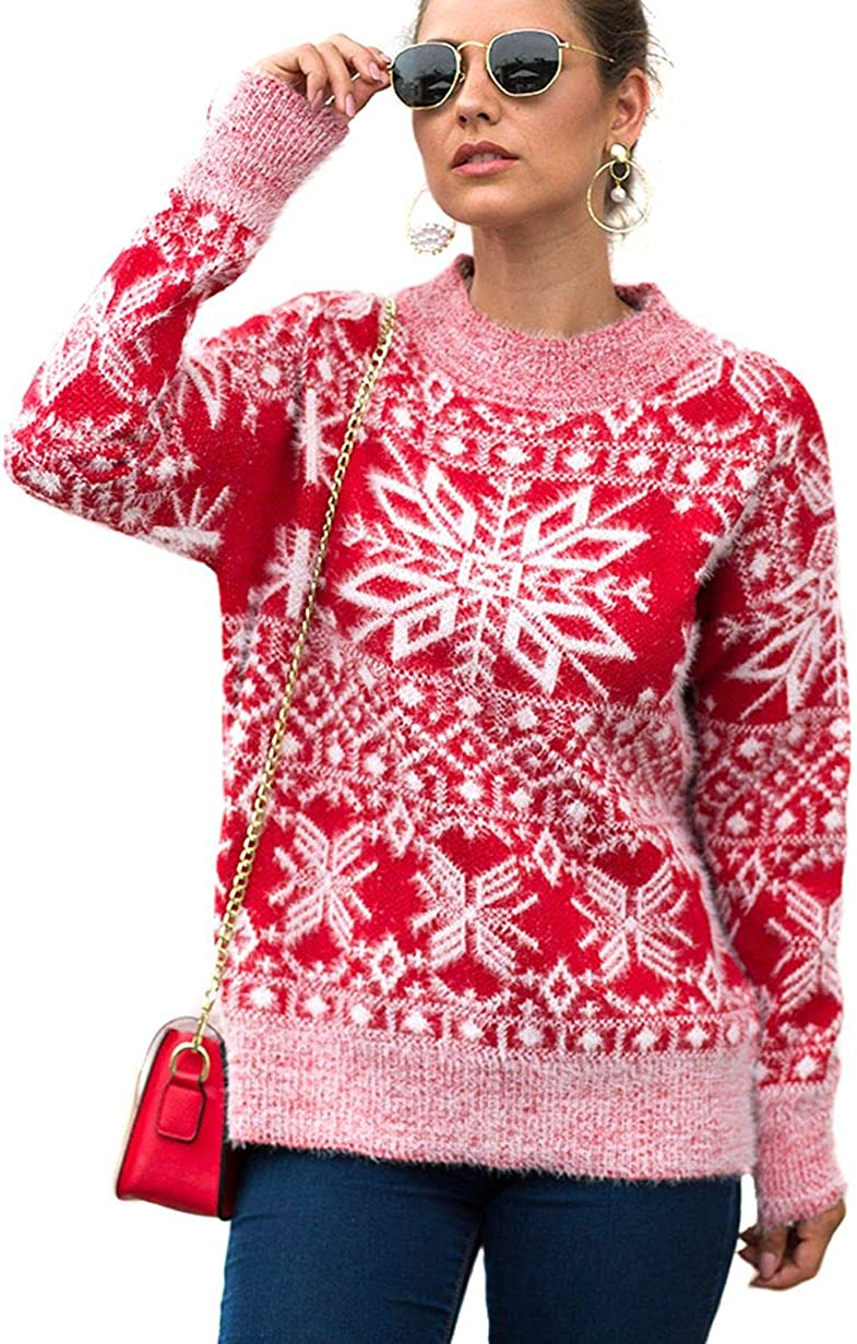 Womens Christmas Ugly Sweater Reindeer Snowflake Knitted Sweater Long Sleeve Pullover Tops