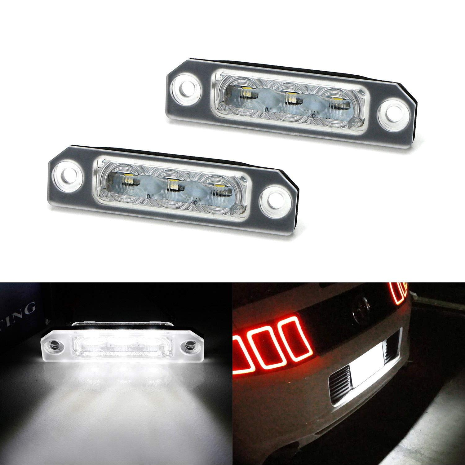iJDMTOY OEM-Fit 3W Full LED License Plate Light Kit For 2011-14 Ford Mustang, 2009-18 Ford Flex, 2008-17 Ford Focus, Powered by 3-piece Osram Xenon White LED iJDMTOY Auto Accessories Replace Factory Number Plate Frame Light