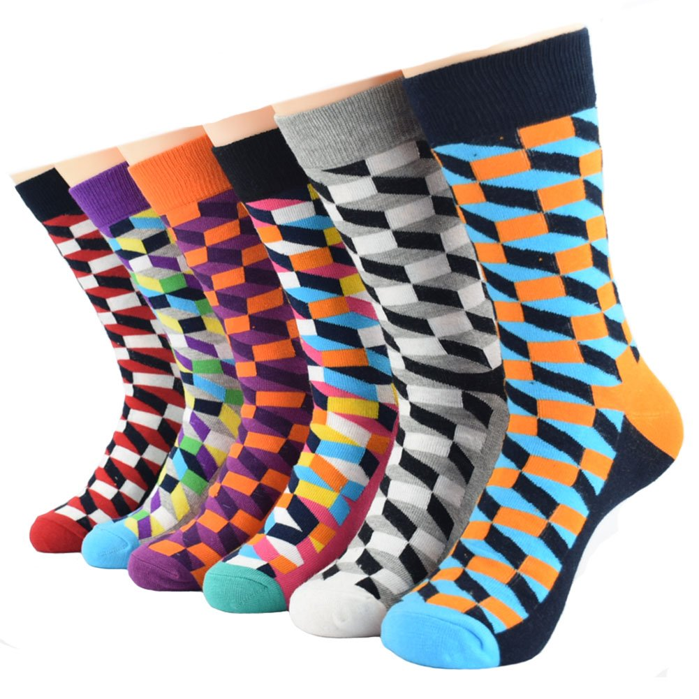 Ziye Shop 6 Pairs Men's Funky Colorful Patterned Cotton Casual Socks