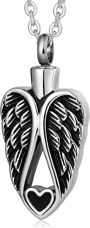 AueDsa Colgantes para Cenizas Hombre Mujer Acero Inoxidable ala de Ángel con Corazón Colgantes para Cenizas Plata