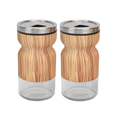 Amazon Com Evelyne Gmt 10209 E 2 Piece Set Stainless Steel Covered Glass Salt Pepper Shaker Seasoning Twist Rotating Cover Kitchen Dining
