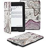 OMOTON Kindle Paperwhite Case Cover - The Thinnest and Lightest PU Leather Smart Cover for All-New Kindle Paperwhite (Fits All versions: 2012, 2013 and 2015 All-new 300 PPI Versions), Rose Red Map