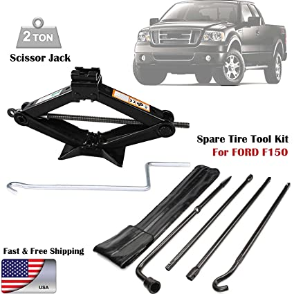 amazon com: for (2004-2014) ford f150 spare tire lug wrench tool kit  replacement & scissor jack 2 tonne heavy duty: automotive