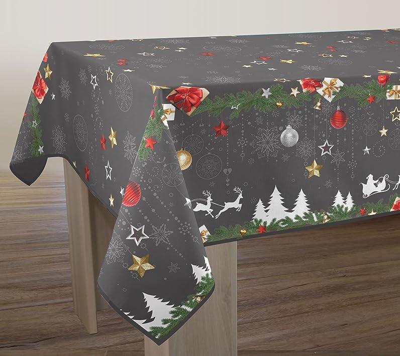 Nappe anti-taches Noël gris - taille : Rectangle 150x300 cm ...